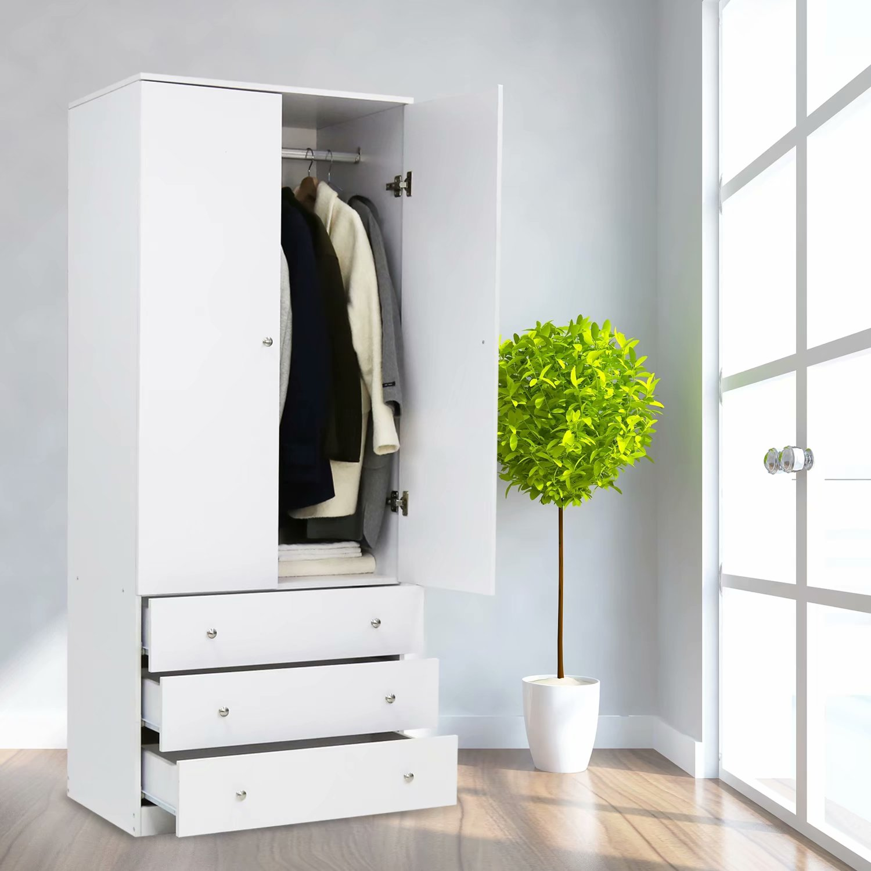 "Kinbor 29""L x19""W x71""H Two Door Wardrobe with Three Drawers White"