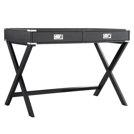 Modern Wood Accent X Base Black Student Computer Writing Office Desk With 2 Drawers