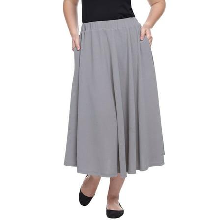 8731b9b1c5 White Mark - Plus Size Grey Tasmin Flare Midi Skirt - Walmart.com