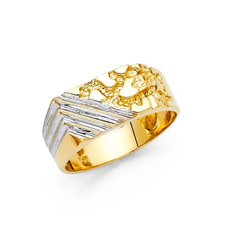 Mens Square Nugget Ring Solid 14k Yellow & White Gold Diamond Cut Two Tone Genuine 9MM
