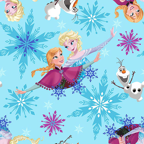 "Frozen Sisters Skate Toss 59/60"" Wide Polyester D/R Fabric, Sisters Ice Skating Badges Toss"