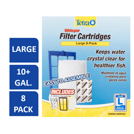 Tetra Whisper Replacement Carbon Aquarium Filter Cartridges, Lg 8ct