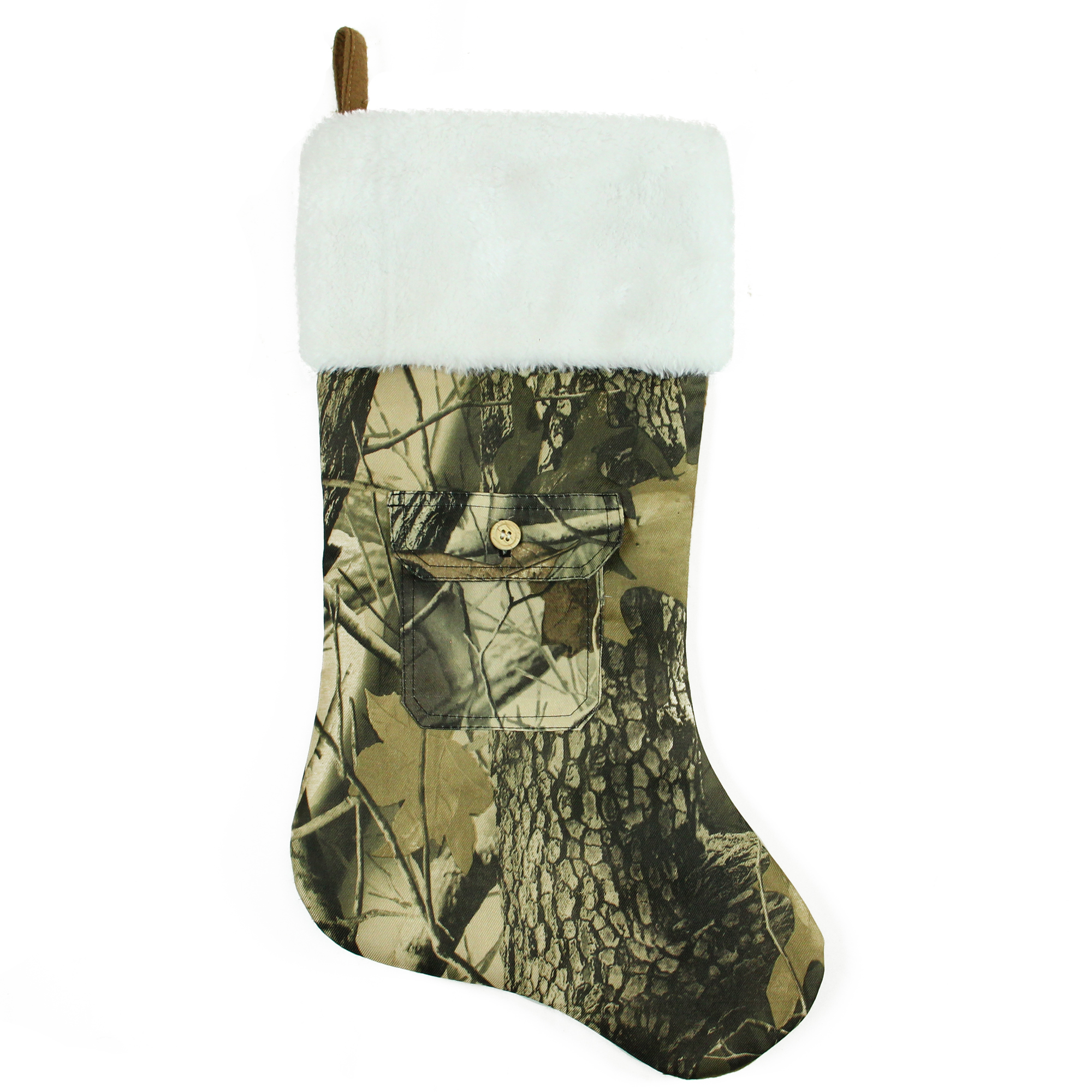 "21.5"" Tree Print Camouflage Christmas Stocking with Pocket and White Faux Fur Cuff"
