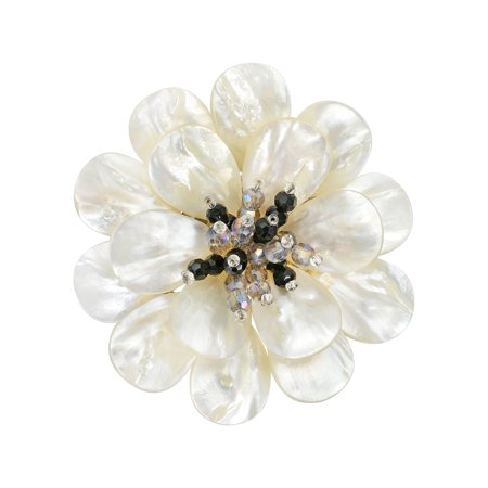 - Stunning Mother of Pearl & Crystal Flower Blossom Brooch Pin
