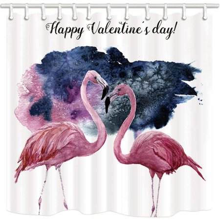 BOSDECO Watercolor Card Pink Flamingo And Happy Valentine's Day Inscription Polyester Fabric Bathroom Shower Curtain 66x72 inches - image 1 of 1