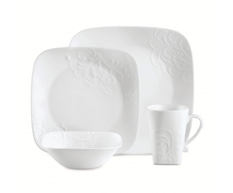 Corelle Boutique Cherish 16-Piece Embossed White Square Dinnerware Set for Special Occasions and Everyday  sc 1 st  Walmart & Corelle Boutique Cherish 16-Piece Embossed White Square Dinnerware ...