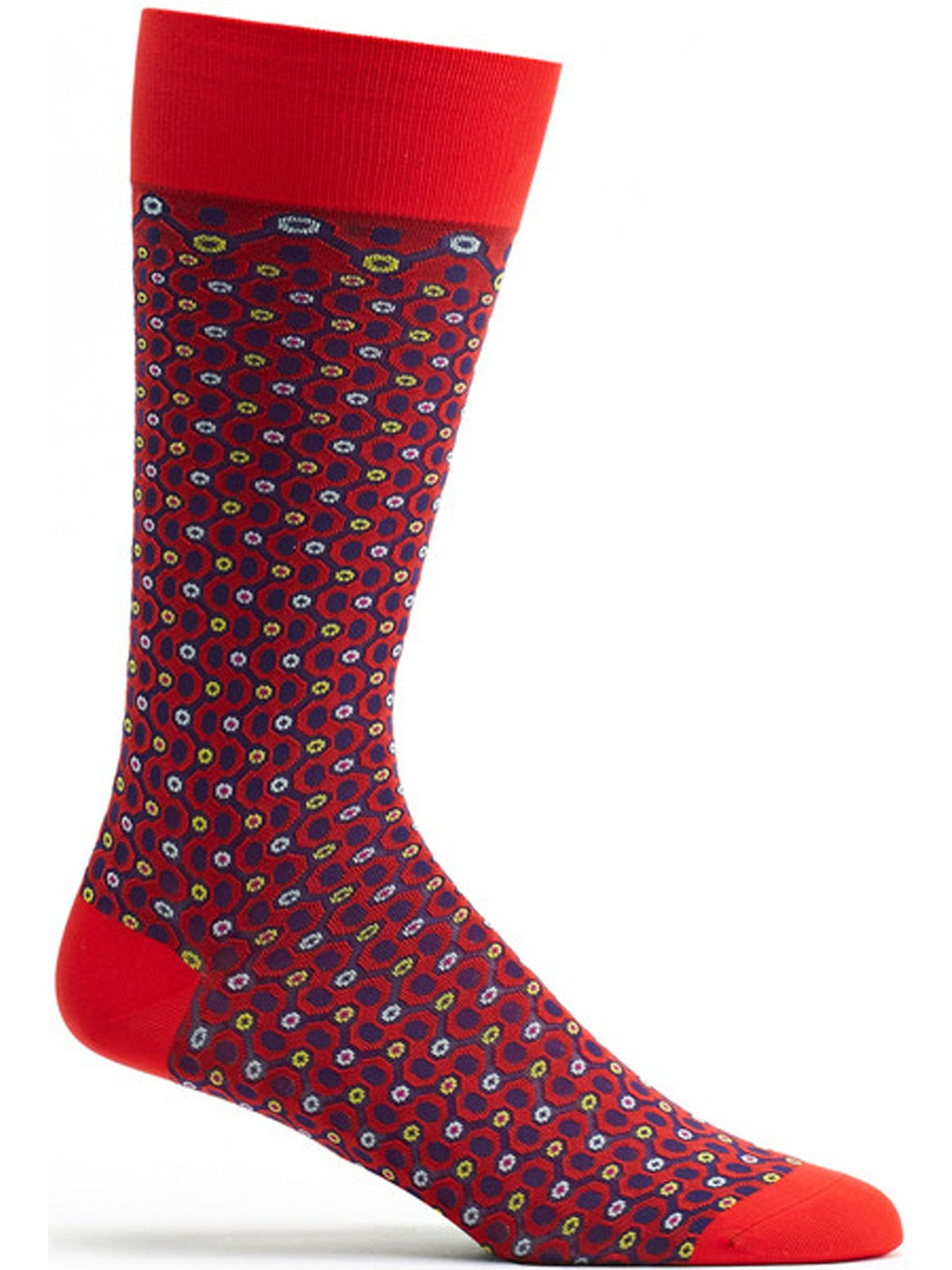 Ozone Socks - Mens Crescent Waves Sock - Red