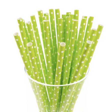 Small Dots Paper Straws, 7-3/4-inch, 25-Piece, White/Apple - Green And White Paper Straws
