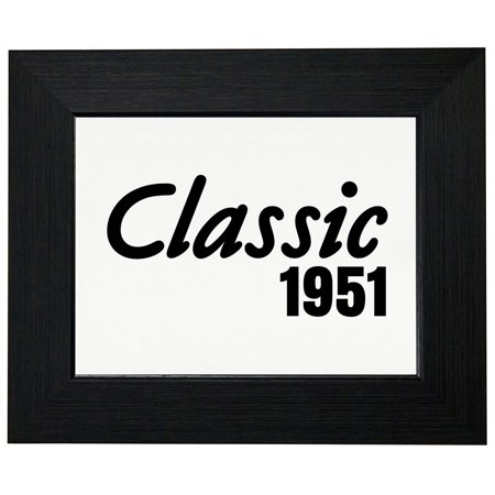 66th Birthday Gift - Born In 1951 - Vintage Classic Framed Print Poster Wall or Desk Mount Options