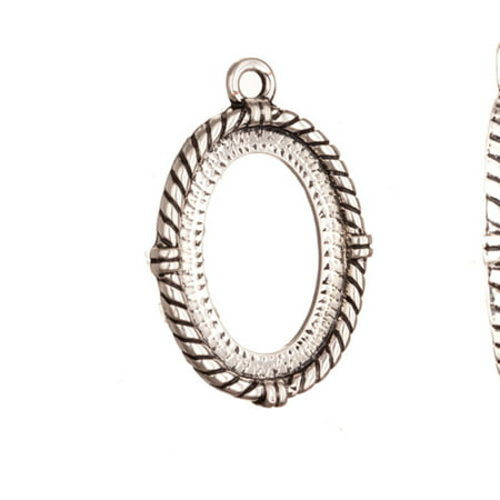 Pendant, Antique-Silver Plated Rope Edge Oval Cabochon Setting 35x24mm With 26x19mm Mount