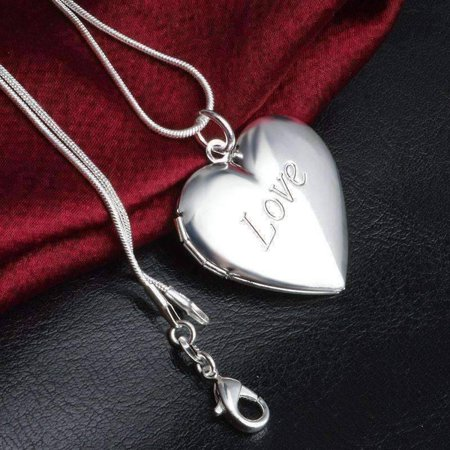 ON SALE - LOVE Sterling Silver Heart Locket Necklace Silver (Vintage Silver Lockets)