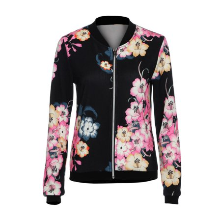 (Toponeto) Womens Ladies Biker Celeb Camo Flower FLoral Print Zipper Up Bomber Jacket L thumbnail