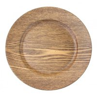Koyal Wholesale 13'' Faux Wood Charger Plate (Set of 4)