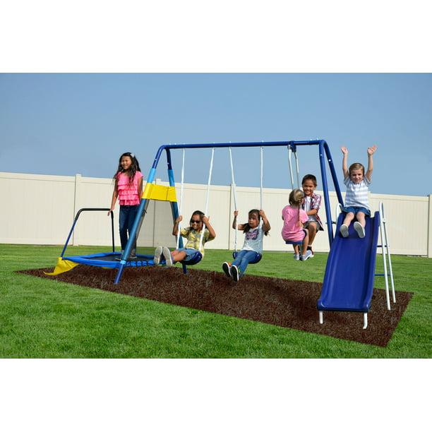 Sportspower Almansor Metal Swing Set With Glide Ride Trampoline And 6ft Heavy Duty Slide Walmart Com Walmart Com