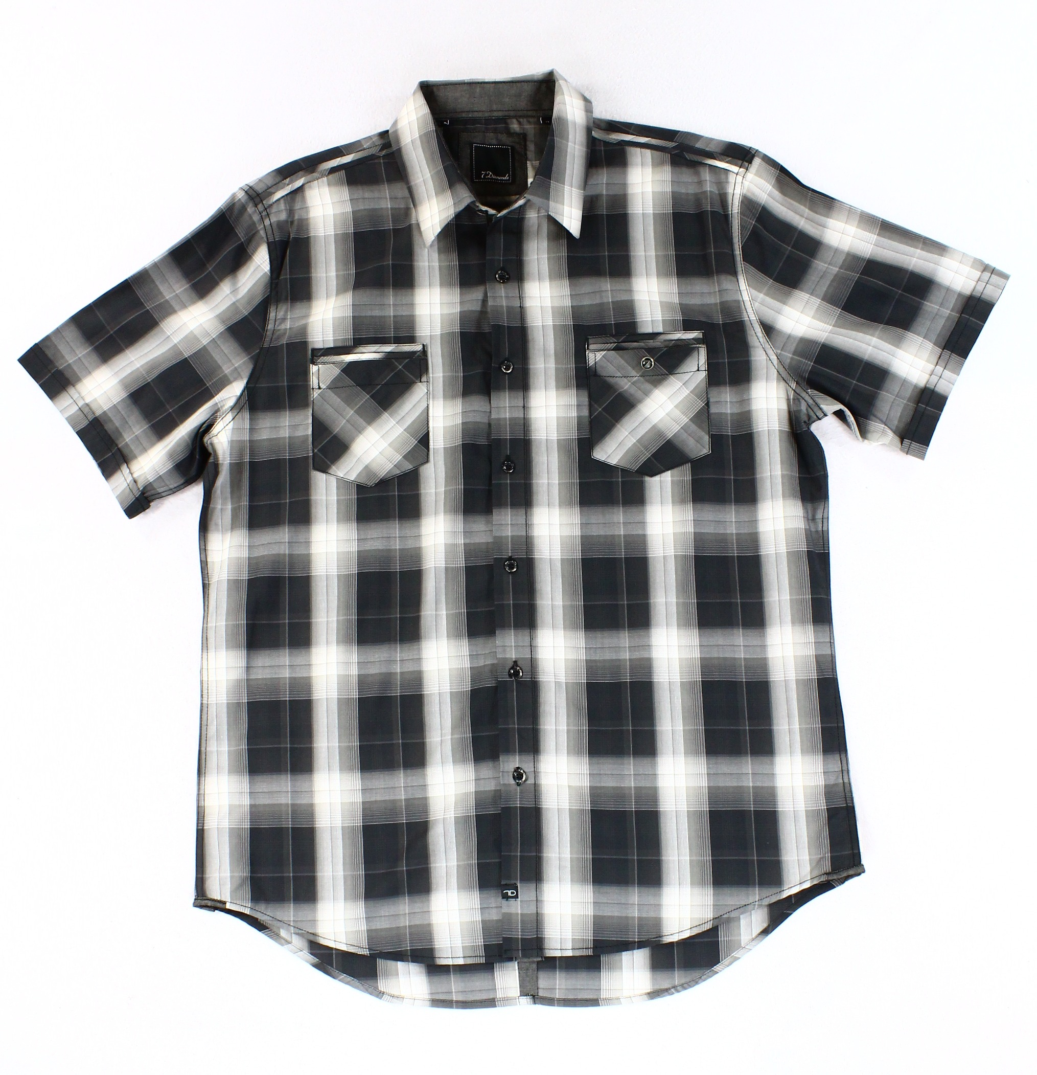7 Diamonds NEW Black Gray Mens Size XL Plaid Button Down Shirt