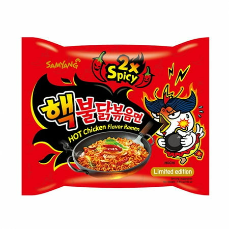 Samyang Ramen Spicy Chicken Roasted Noodles Extra 2X Spicy Flavor (Pack of 2) (Rahmen Kona)