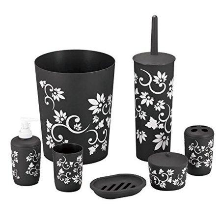 Durable 7 Piece Printed Bathroom Set in Black ()