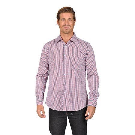 Mens Long Sleeve Button Down Shirts Gingham Check Red