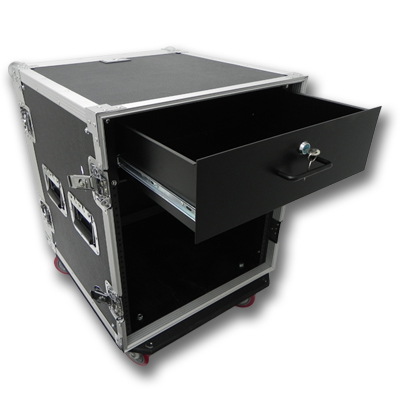 Seismic Audio 12 SPACE RACK CASE WITH 3U LOCKING DRAWER Amp Effect Mixer PA/DJ PRO CASTERS - SAR12rd3u