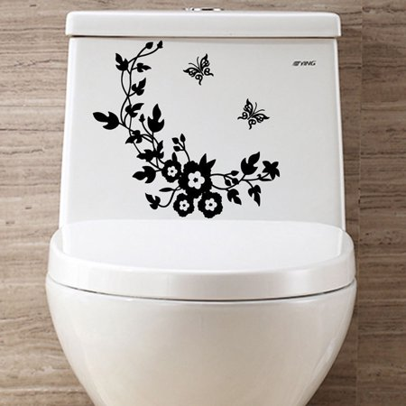 Flower Toilet Seat Wall Sticker Bathroom Decoration Decals Decor Butterfly Black