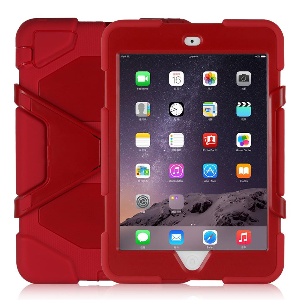 "Shockproof Case Cover For iPad mini 1/2/3 (Come with screen film and stand,7.9""device )RED"