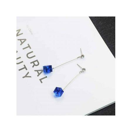 MAXSUN Korean Transparent Cube Crystal Simple Drop (Cube Earrings)