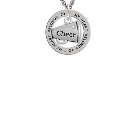 Cheer Megaphone with AB Crystal - 2 Sided My Heart Belongs To Affirmation Ring Necklace