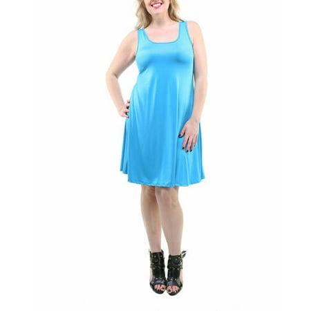 723b5584937 24 7 Comfort Apparel - Women s Plus Size Sleeveless Tank Knee-Length Dress  - Walmart.com