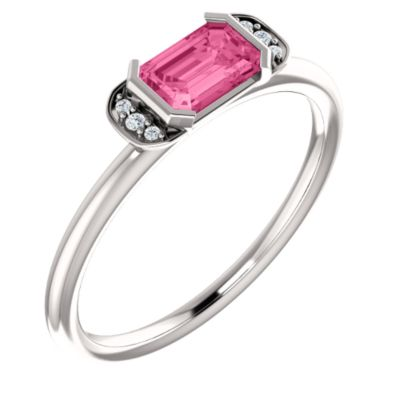 14k White Gold Pink Tourmaline Pink Tourmaline .025 Dwt Diamond Stackable Ring -- Size 6.5 by