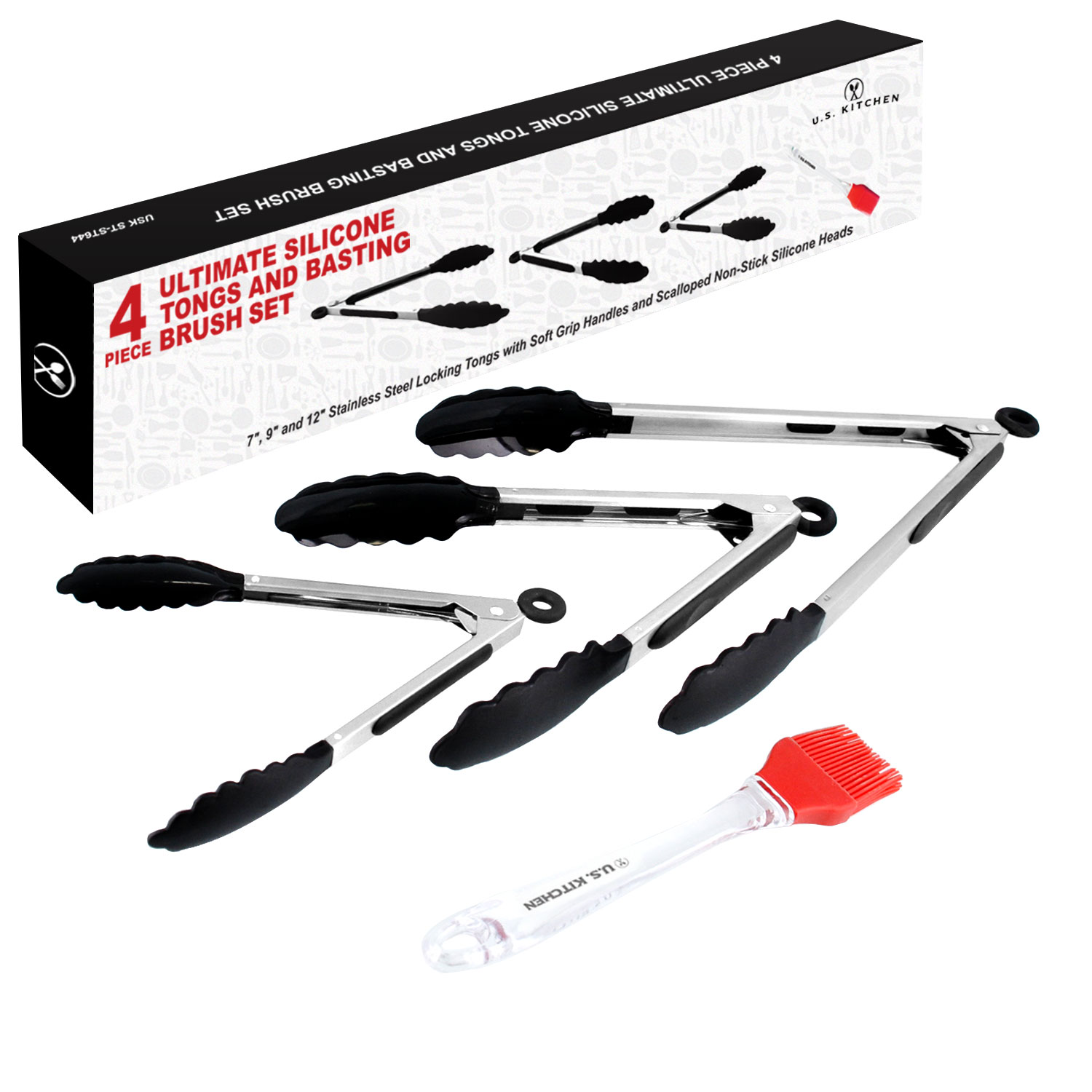"U.S. Kitchen Supply 4 Piece Ultimate Silicone Locking Tongs and Basting Brush Set - Stainless Steel 7"", 9"" & 12"""