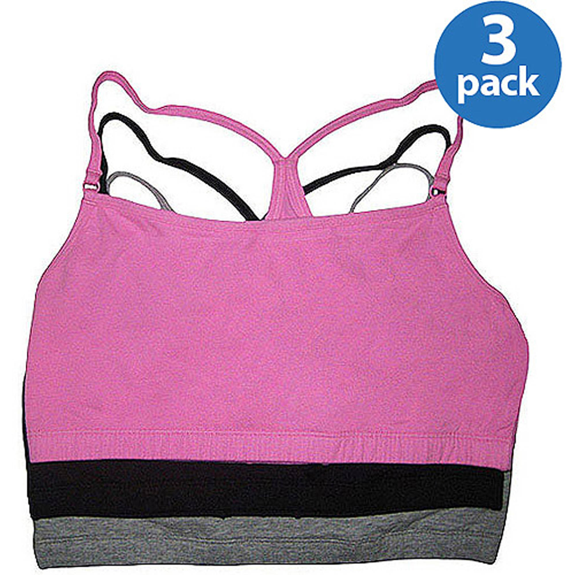 Fruit of the Loom - Strappy Racerback Sport Bras, 3-Pack, Style 90007