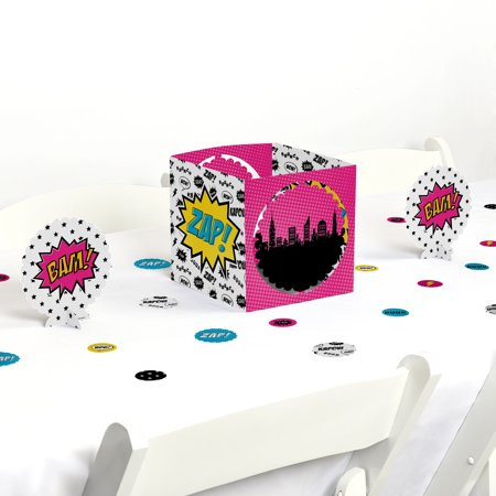 BAM! Girl Superhero - Party Centerpiece & Table Decoration - Superhero Centerpieces
