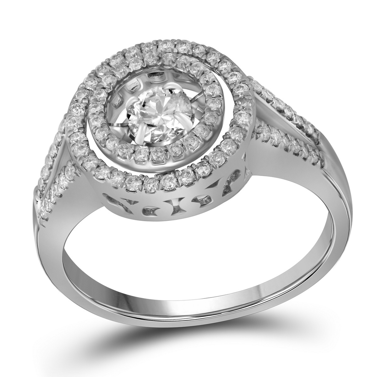 10kt White Gold Womens Round Diamond Moving Solitaire Bri...