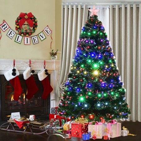 Goplus 7' Pre-Lit Fiber Optic Artificial Christmas Tree w/Multicolor LED Lights & Stand ()