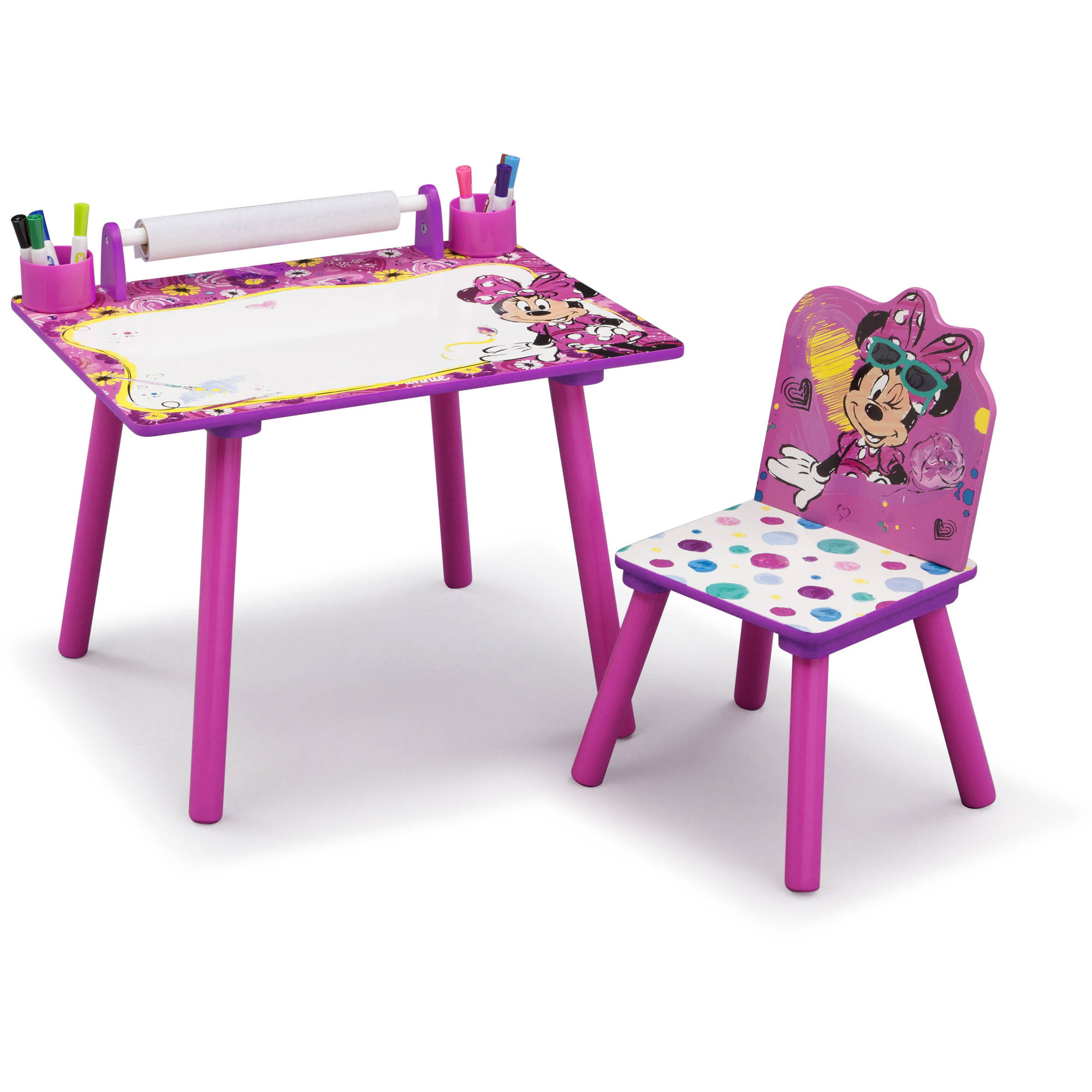 Disney Minnie Mouse Art Desk Withfabric Toy Box Playroom