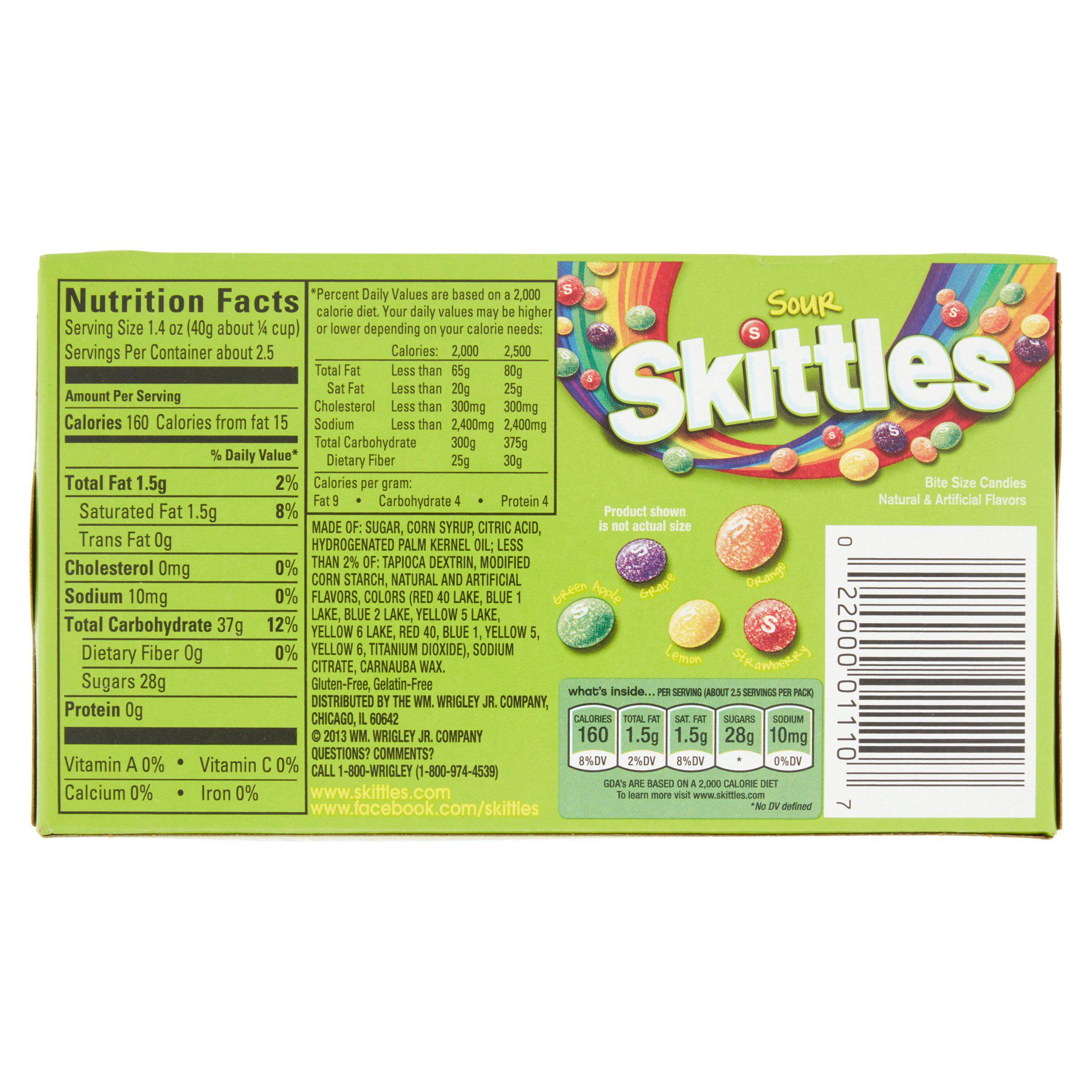 skittles, sour bite size candies, 3.2 oz - walmart