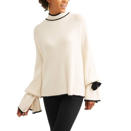 Women's Contrast Stitch Sweater with Tie-Sleeve Detail](Fireplace Sweater)