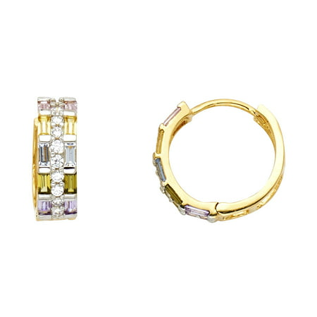 Gold Multi Color Gems (Jewels By Lux 14K Yellow Gold Multi Color Cubic Zirconia CZ Huggie Endless Hoop Womens Earrings 15MM X 15MM)