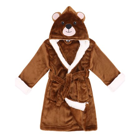 Boys Girls Plush Animal Hooded Bath Robe Pajamas Bathrobe Nightgown Sleepwear