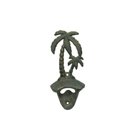 Rustic Bronze Cast Iron Wall Mounted Palm Tree Bottle Opener 6