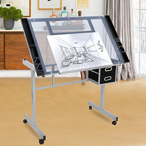 Zeny Drafting Table Craft Station With Glass Top Drawing Desk Art Work  Station Artist