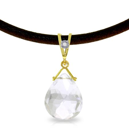 ALARRI 6.51 Carat 14K Solid Gold Attraction White Topaz Diamond Necklace with 22 Inch Chain Length.