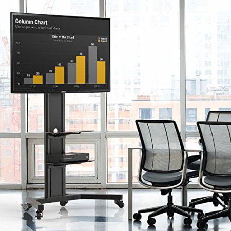 FITUEYES Universal Floor swivel Tv Stand Base with Av Shelf Locking Caster Wheels for 32 40 45 50 55 60 65 inch Samsung LG Flat Screen TVs F1TT211201MB
