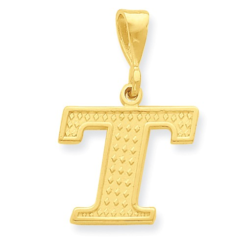 14k Yellow Gold Initial T Charm Pendant