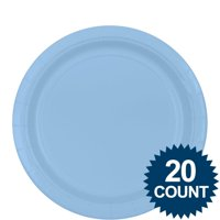 Amscan BB100250 Light Blue 9 inch Paper Plates, 20Ct.