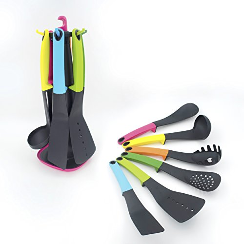 EdiMoM Brand; Multi-color 7 Pcs Raised Up Handle Silicone Kitchen Cooking Utensils Set With the 360 degree Rotating Stand and 7 Hooks