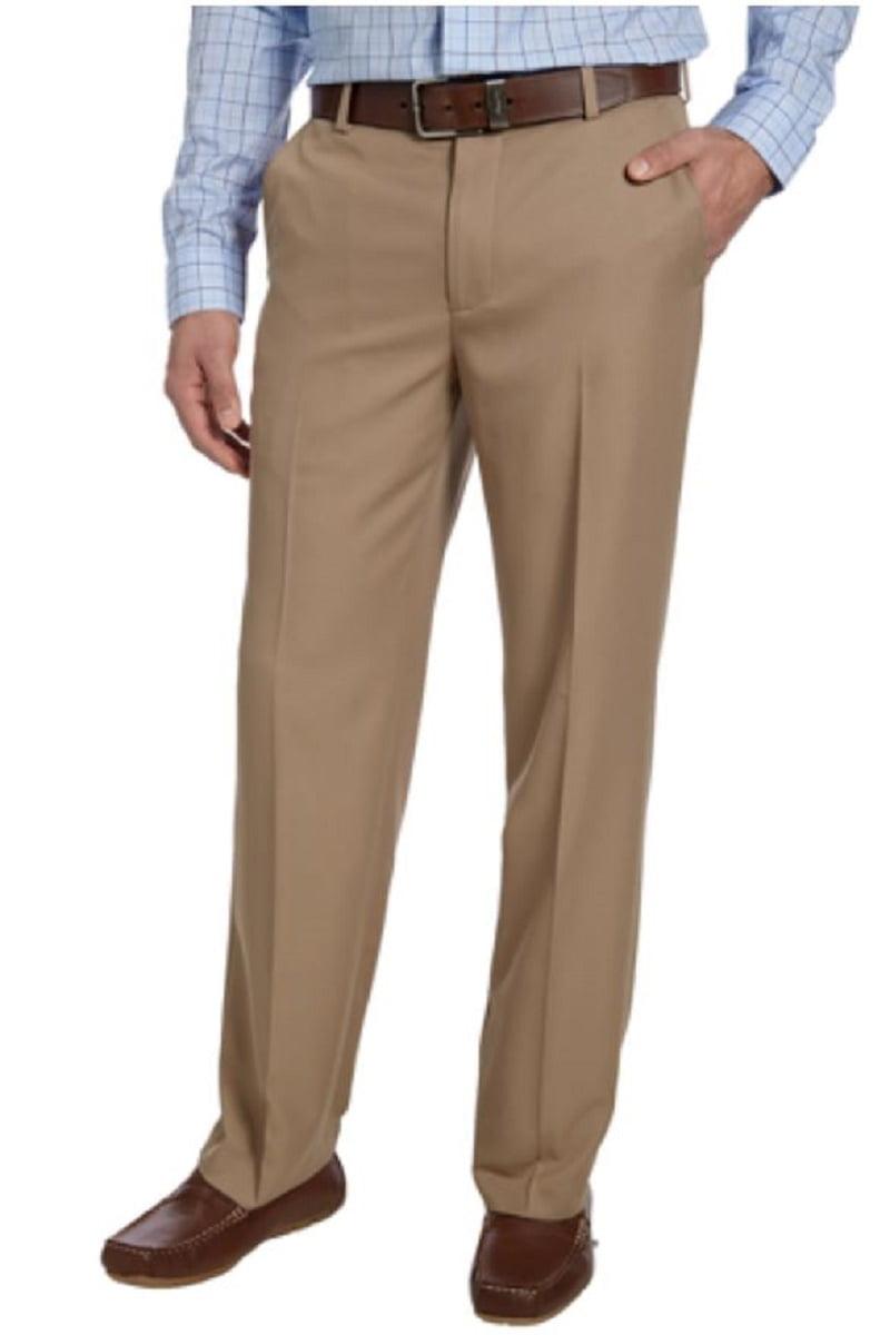 IZOD Men's Flat Front Stretch Chino Dress Pant (Khaki, 34x29)