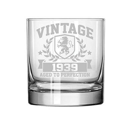 11 oz Rocks Whiskey Highball Glass Vintage Aged To Perfection 1939 80th Birthday