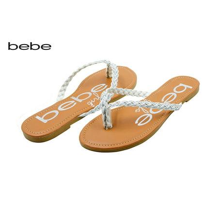 bebe Girls Braided Glitter Strap Thong Flip Flop Sandals Size 4/5/Silver - Girls Ipanema Flip Flops