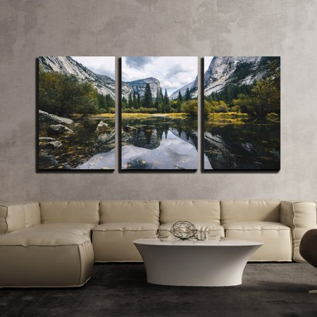 wall26 - 3 Piece Canvas Wall Art - Mountain Landscape with Lake - Modern Home Decor Stretched and Framed Ready to Hang - 16